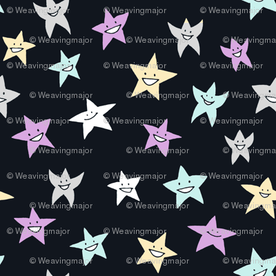 happy stars on blue-black