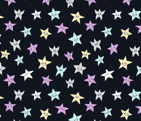 happy stars on blue-black fabric by weavingmajor on Spoonflower - custom fabric