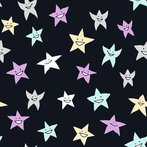 happy stars on blue-black