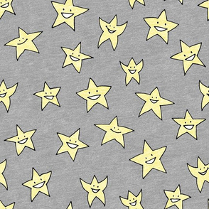 happy stars on grey