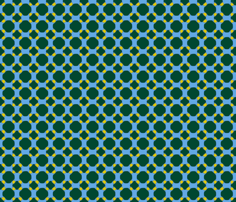 16jun14#8   -Dark Green and Yellow on Blue fabric by fireflower on Spoonflower - custom fabric