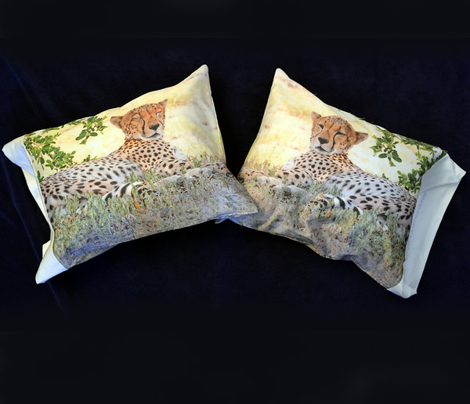 Three CHEETAH pillowcases