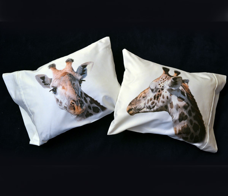 Three Giraffe pillowcases