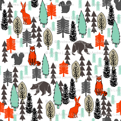 Woodland Christmas Trees - Multi by Andrea Lauren