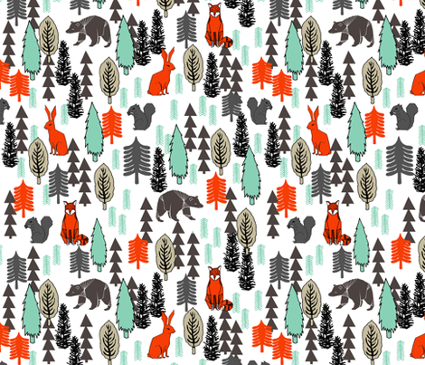 Woodland Christmas Trees - Multi by Andrea Lauren fabric by andrea_lauren on Spoonflower - custom fabric