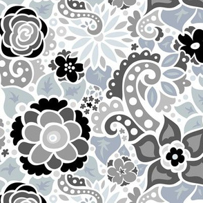 Black & Gray Doodly Flowers