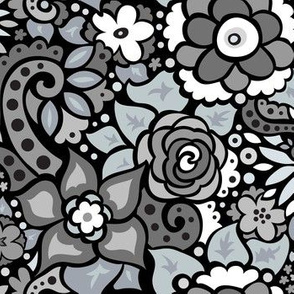 Black & White Doodly Flowers