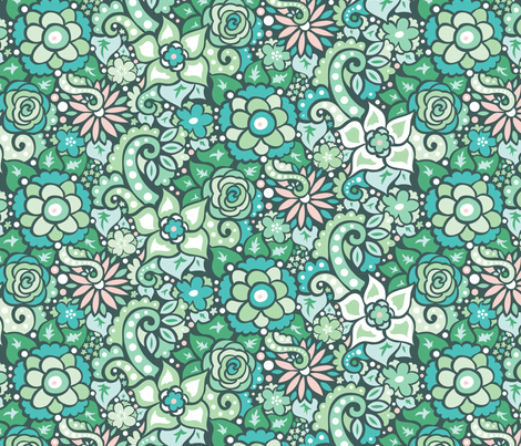 Green Doodly Flowers fabric by katrinazerilli on Spoonflower - custom fabric
