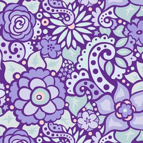 Purple Doodly Flowers