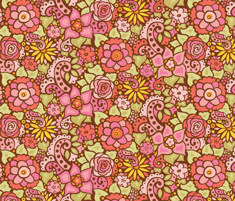 Retro Pink Flowers fabric by katrinazerilli on Spoonflower - custom fabric