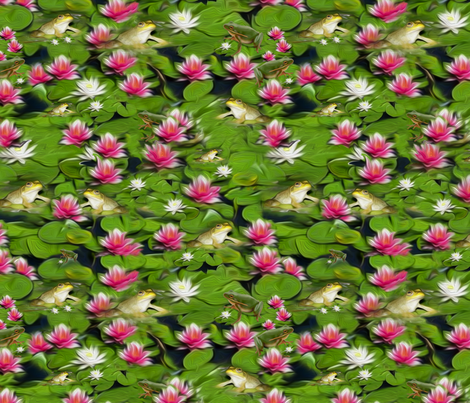 Frogs And Lilies fabric by bags29 on Spoonflower - custom fabric