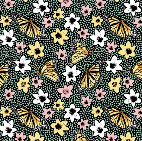 Dotty Spring Butterflies fabric by eclectic_house on Spoonflower - custom fabric