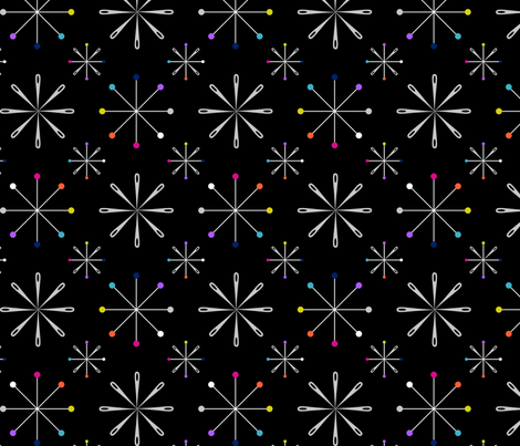 Atomic Pins and Needles Black fabric by modgeek on Spoonflower - custom fabric
