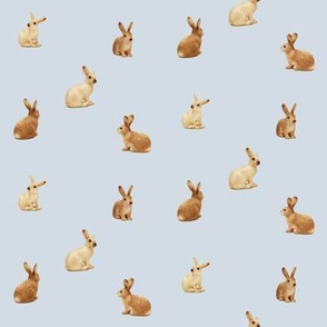 caramel bunnies on grey, wide spaced