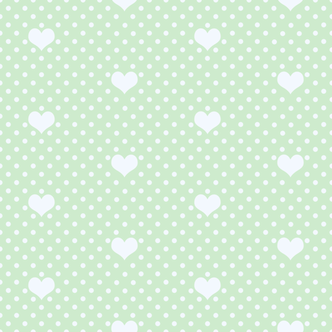Polka Dot and Heart Soft Green fabric by thistleandfox on Spoonflower - custom fabric