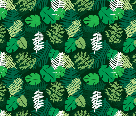 Green tropical garden brazil plants and leaves fabric by littlesmilemakers on Spoonflower - custom fabric