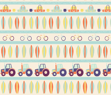 Surf_Tractor_Pattern_Stripes fabric by lousberry on Spoonflower - custom fabric