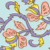 flower garden - light blue pink purple yellow