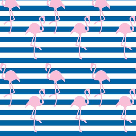 Nautical Flamingo ©2014 Jill Bull  fabric by palmrowprints on Spoonflower - custom fabric