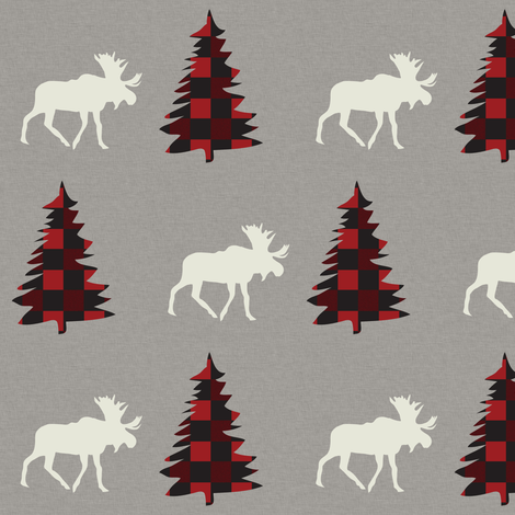 Spruce & Moose (buffalo plaid) ©2017 fabric by palmrowprints on Spoonflower - custom fabric