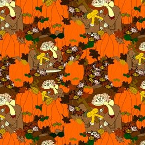 William Scarecrow, Pumpkins and Fall Leaves Fabric