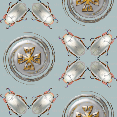 silver scarab medallion