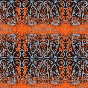 Woodblock -orange and blue
