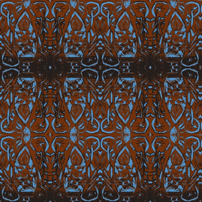 Woodblock -brown and blue