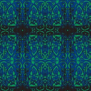 Woodblock -blue and green