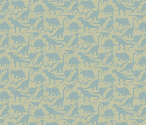 Little Dinosaur Friends Blue Grey fabric by jillbyers on Spoonflower - custom fabric