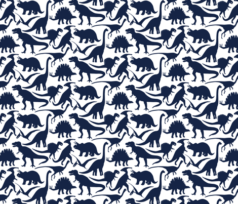 Little Dinosaur Friends Indigo fabric by jillbyers on Spoonflower - custom fabric