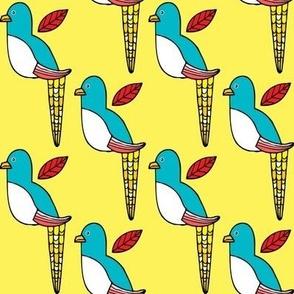 Blue Bird in Yellow