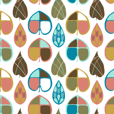 Organic Leaves fabric by joannepaynterdesign on Spoonflower - custom fabric