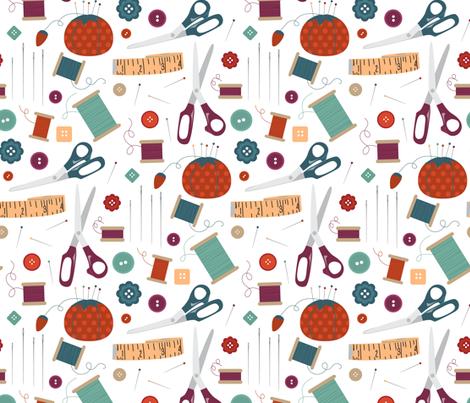 Sew Much Fun Sewing Notions fabric by lisa_kubenez on Spoonflower - custom fabric
