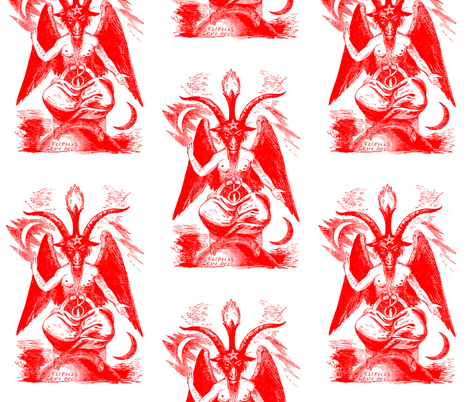 baphomet red on white fabric by starlings_law on Spoonflower - custom fabric