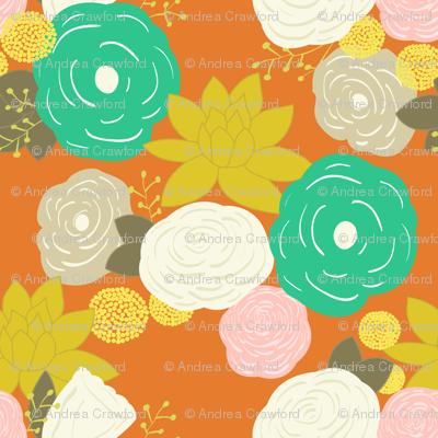 Vintage orange floral