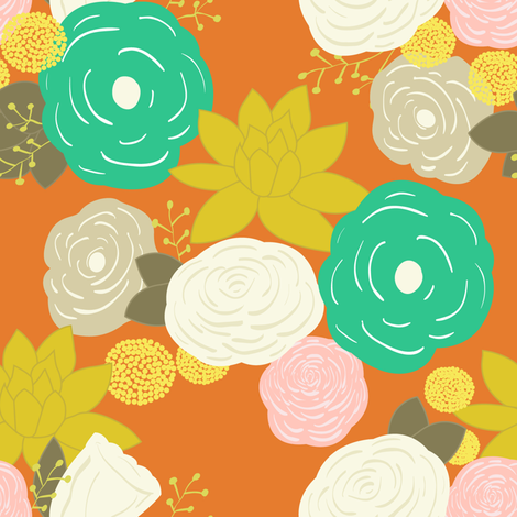 Vintage orange floral fabric by mintpeony on Spoonflower - custom fabric