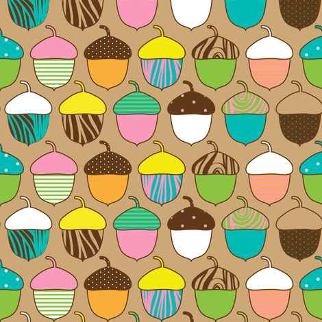 Woodland Accorns fabric by joannepaynterdesign on Spoonflower - custom fabric