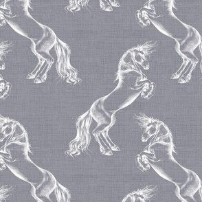 White Rearing Horse on Mid Grey Linen