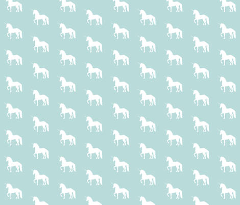Prancing Unicorn on Sky Blue fabric by thistleandfox on Spoonflower - custom fabric