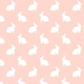 Fuzzy White Bunny on Pinky Peach