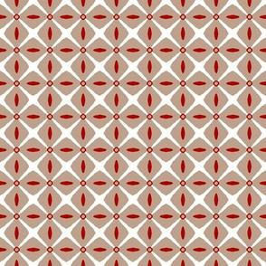 Interspersed    -White and Dark Red on Taupe