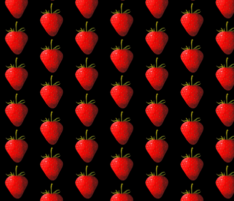 Strawberry, black fabric by interrobangart on Spoonflower - custom fabric