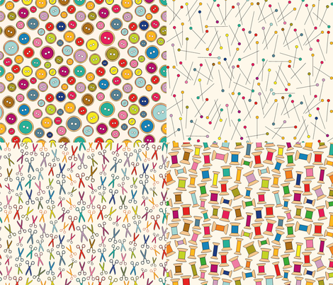 B&B - Buttons & Bobbins fabric by cassiopee on Spoonflower - custom fabric
