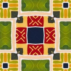 Bright Geometric Patchwork Fabric