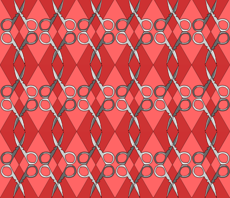 Sewing Scissors Argyle red on red fabric by beesocks on Spoonflower - custom fabric