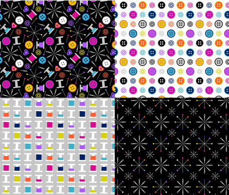 Sew Groovy Sampler fabric by modgeek on Spoonflower - custom fabric