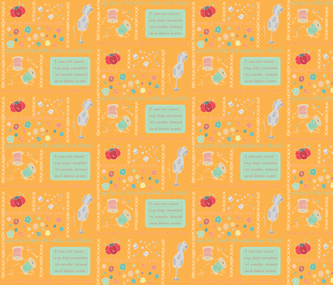 Sew Cute Tangerine fabric by pamela_hamilton on Spoonflower - custom fabric