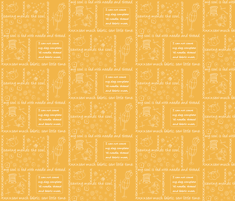 Notion Outlined Tangerine fabric by pamela_hamilton on Spoonflower - custom fabric