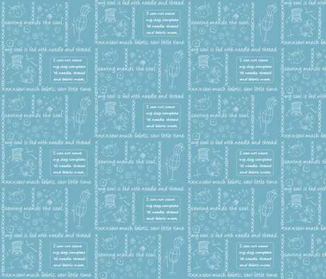 Notion Outlined BabyBlue fabric by pamela_hamilton on Spoonflower - custom fabric